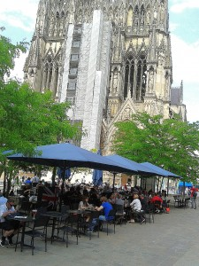 Cafe in the square in front of Reims Cathedral