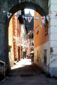 Typical steep narrow street in Briancon
